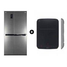 세미빌트인 양문형 냉장고 S631S32 [636L] & 1구 포터블 인덕션 전기레인지 HEI1V9