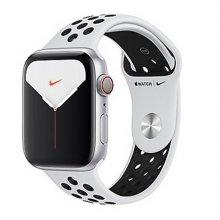 애플워치5 GPS+셀룰러 44mm [실버 알루미늄 케이스, 퓨어 플래티넘 / 블랙 Nike 스포츠 밴드] MX3E2KH/A