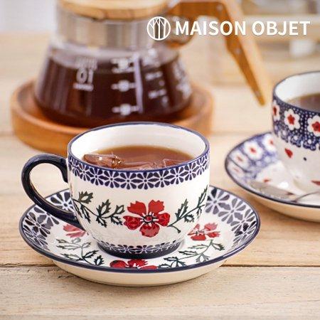 프라카 폴란드풍 도자기 커피잔세트 2p 200ml 카멜리아