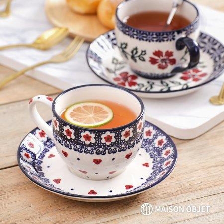 프라카 폴란드풍 도자기 커피잔세트 2p 200ml 레드블로썸