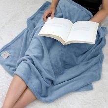 솔리드 밍크 극세사 담요 중형 (100x160) 스카이블루