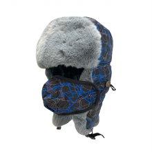 HMUS 겨울 트래퍼햇 군밤 방한모 패턴블루