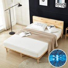 메이딘 소나무 원목 헤드형 퀸 침대+기본매트