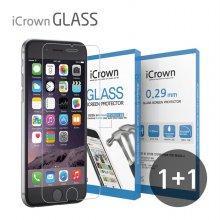 1+1 아이크라운 9H 강화유리필름 아이폰11프로/X/XS