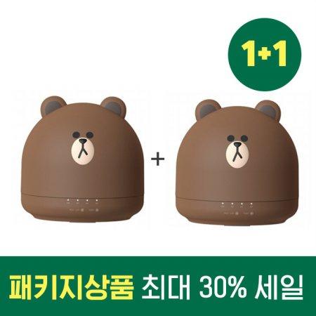 1+1 패키지 할인 라인 프렌즈 미니 가습기 OA-HM036+OA-HM036 (브라운)
