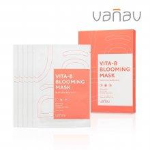 바나브 비타-비 블루밍 마스크팩 1박스(5매) - 비타민B 장미꽃수 수분보습/미백개선/주름개선