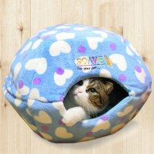 애완 고양이 휴식 공간 햄버거 모양 방석 하우스 블루_4903D5
