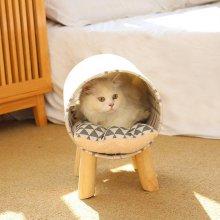 고양이 집 숨숨 용품 방석 쿠션 체크 터널 하우스_4CC6FB
