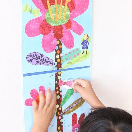 핫핑크꽃 키재기 차트 / 방꾸미기 인테리어