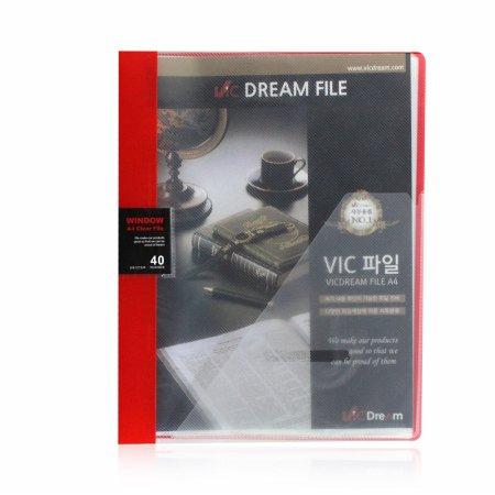 (당일배송) VIC 윈도우 클리어화일 40P 적색