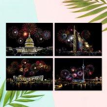 컬러 스크래치 카드 컬러링북 DIY(A4)-불꽃놀이(4종)