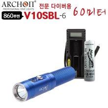 다이버용 LED후레쉬 수중랜턴 V10SBL-6 60M 해루질