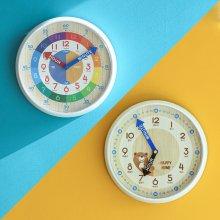 (제조사판매/당일무료발송/AS확실) 오리엔트 OT877 무소음 시간배우기 교육용벽시계, 레인보우/곰돌이 2종 택1