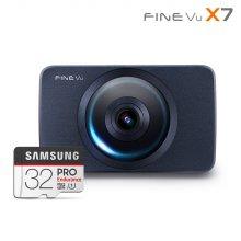 [히든특가] 파인뷰 X7 2배저장 스마트타임랩스 FHD/FHD 2채널블랙박스 32GB