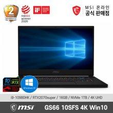 MSI 게이밍 노트북 GS66 Stealth 10SFS 4K WIN10 (10th-i9/RTX2070S/16G/1TB)