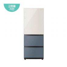 클라쎄 컬러글라스 스탠드형 김치냉장고 WRKQ37EPBB (328L, 솔리드 베이지+블루 그레이)/ 1등급)