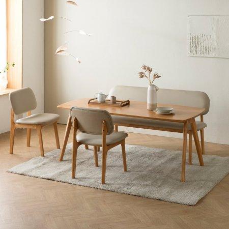 로미안 원목 6인용식탁세트+의자3 벤치1
