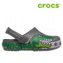 크록스 아동 샌들 /WL- 206157-0DA / Kids Crocs Fun Lab Dino Band Lights Clog Slate Grey