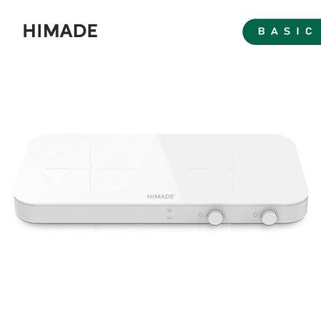 2구 인덕션 HIM-ID2800 (AS보장, 화이트, 강화 세라믹 상판, 와이드팬 가능)