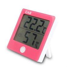 CAS온습도계 TE-301 핑크 [디지털 온습도계(핑크)/ 습도범위에 따라 3단계 아이콘 표시/ 탁상용/벽걸이 겸용/ 보기 편한 대형 LCD 표시부]