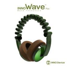 INNO Wave2 헤드폰 (그린) [독특한 웨이브 디자인 / 휴대용 기기에 최적화된 1.2m 코드와 플러그 / 조절 가능한 헤어밴드 슬라이더]