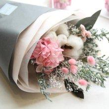 [프리저브드플라워] 목화와 핑크수국꽃다발