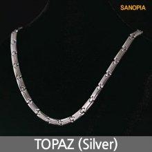 게르마늄 티타늄 자석 목걸이 토파즈 (실버46cm 여성)
