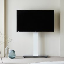 이동형 TV 스탠드 윌 1400 WHITE (85까지 적용) <유리선반 미포함>