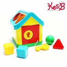 학습놀이교구 열쇠 블럭도형 하우스 1개