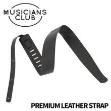 Musicians Club - PREMIUM LEATHER GUITAR STRAP (BLACK)