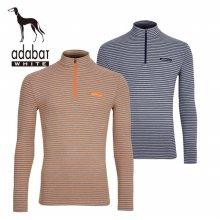 아다바트 화이트 스트라이프 짚업 남성 긴팔 티셔츠