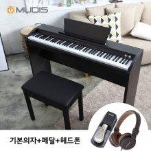 [화이트 5/13, 블랙 5/14부터 순차배송][뮤디스]전자 디지털피아노 MU-8H + 기본의자 + 페달 + 헤드폰