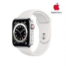 [Applecare+] 애플워치 6 GPS+Cellular 44mm 실버 스테인리스 스틸 케이스 화이트스포츠밴드