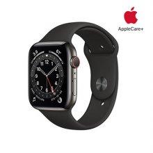 [Applecare+] 애플워치 6 GPS+Cellular 44mm 스페이스그레이 스테인리스 스틸 케이스 블랙스포츠밴드