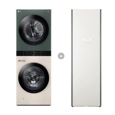 오브제컬렉션 워시타워 W16EG (세탁기24kg, 건조기16kg, 드럼-베이지,건조기-그린) + 스타일러 S5BFO 의류관리기 (5벌, 미스트베이지)